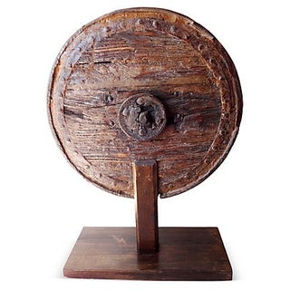 Antique Wooden Wheel on Stand For Sale