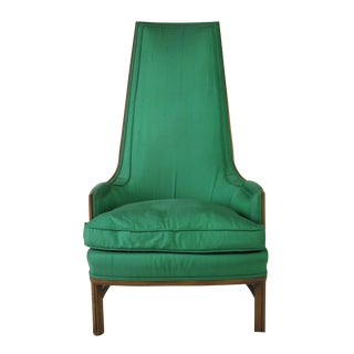Mid-Century Emerald Highback Lounge Chair