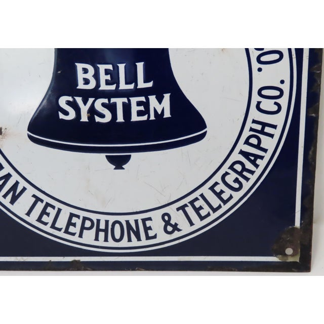 Navy Blue Antique Porcelain on Steel Bell Telephone Advertising Sign For Sale - Image 8 of 13