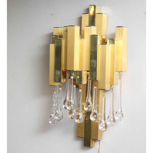 1970s Pair of Gaetano Sciolari Brutalist Sconces with Glass Tear Drops For Sale - Image 5 of 6