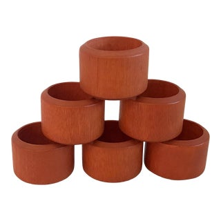Vintage Orange Wooden Napkin Rings - Set of 6 For Sale