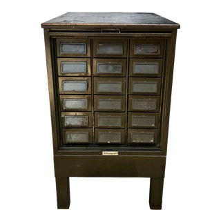 Vintage Industrial Addressograph Steel Metal 18-Drawer Catalogue File Cabinet For Sale