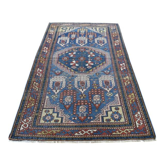Antique Caucasian Kazak Even Wear Hand Knotted Rug- 3′10″ × 6′3″ For Sale