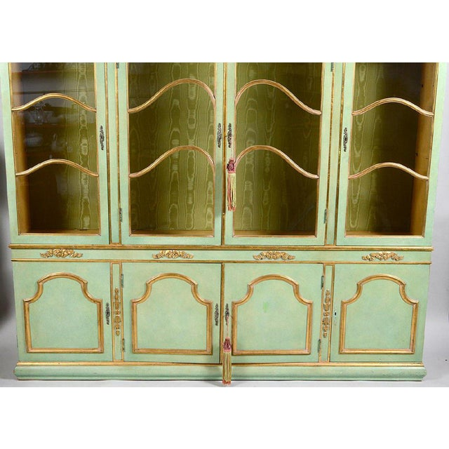 Italian Baroque Style Parcel Gilt Green Painted Cabinet For Sale - Image 4 of 5
