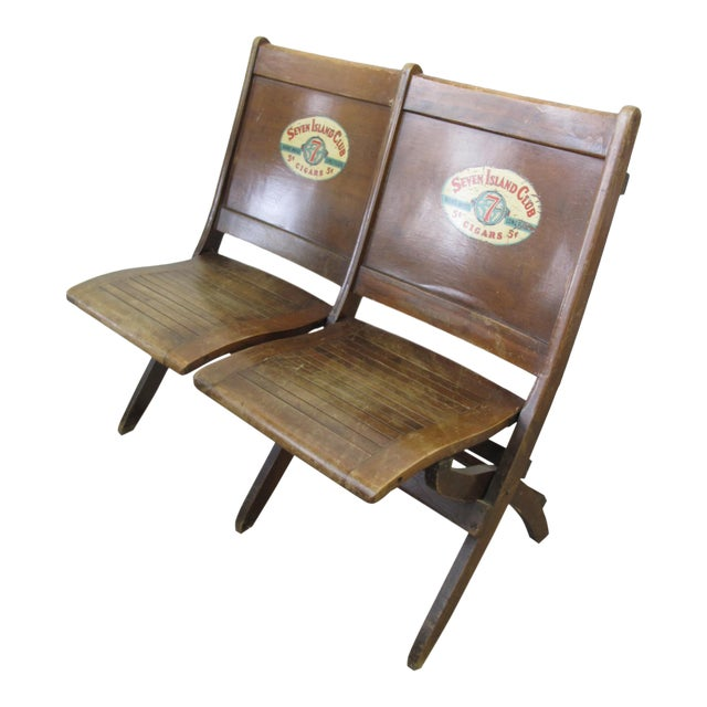 Pre War Seven Island Club Cigars Folding Double Bench For Sale