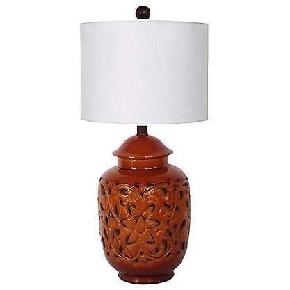 California Pottery Mid-Century Lattice-Cut Lamp For Sale