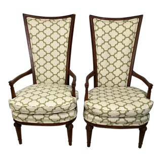 Vintage Mid Century Statesville Tall-Back Side Chairs- A Pair For Sale