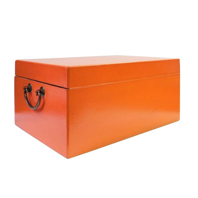 Chinese Orange Rectangular Shape Container Box For Sale - Image 5 of 5