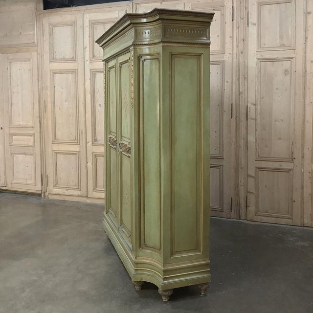 Antique Italian Neoclassical Painted Armoire For Sale In Baton Rouge - Image 6 of 13