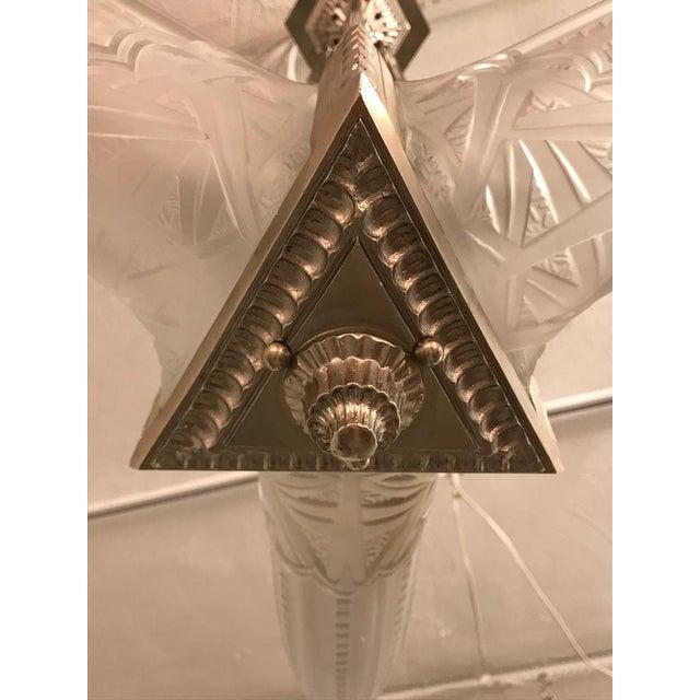Metal French Art Deco Triangular Starburst Chandelier For Sale - Image 7 of 12