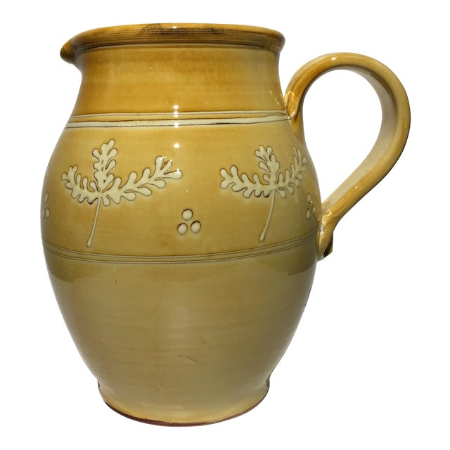 French Pottery Leaf Pitcher - Image 1 of 7