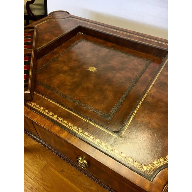 1970s Maitland-Smith Carved Mahogany Game Table With Leather Top For Sale - Image 5 of 13