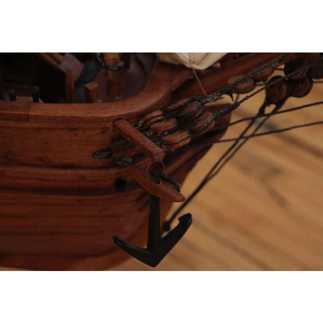 Black Traditional Hand Carved Ship Model For Sale - Image 8 of 10