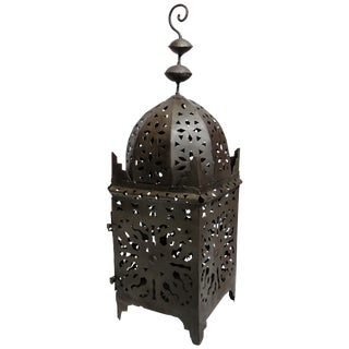 Large Moroccan Hurricane Metal Candle Kasbah Lantern For Sale