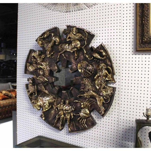 Round Zodiac Sunburst Wall Mirror For Sale - Image 4 of 9