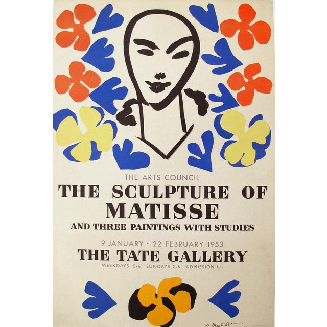 Original 1950's Matisse Exhibition Poster, Tate Gallery London For Sale