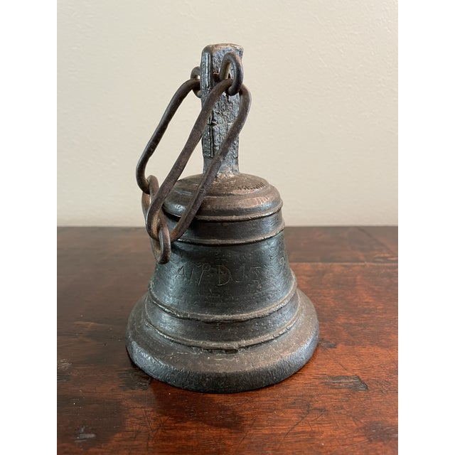"""18th Century Italian Cast Bronze and Hand Forged Ringing Bell with Chain. Inscribed and dedicated for hospital use as """"Ano..."""