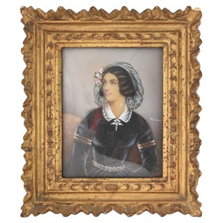 Early 20th Century Antique Miniature Lola Montez Portrait of Lady With Ringlets Painting For Sale