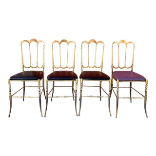 1950s Vintage Brass Chiavari Side Chairs - Set of 4 For Sale