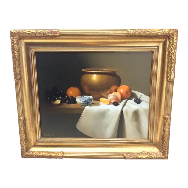 1980s Vintage Still Life Oil on Canvas by Jerry Weers For Sale
