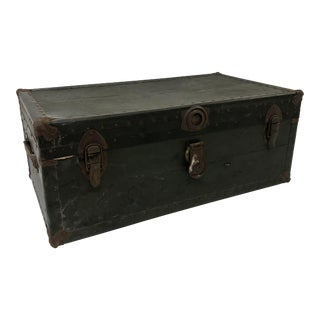 Vintage Industrial Green Wood Military Foot Locker Trunk W Tray For Sale