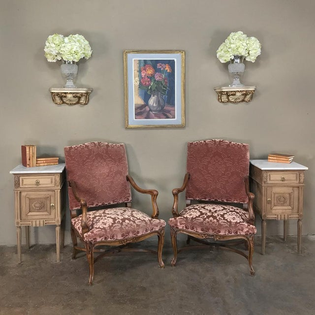 Pair 19th Century French Louis XV Walnut Armchairs are ideal for classing up any seating group, with broad, generous seats...
