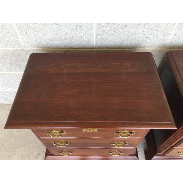 Colonial Furniture Cherry Chippendale Style 3 Drawer Nightstands - a Pair For Sale - Image 4 of 8