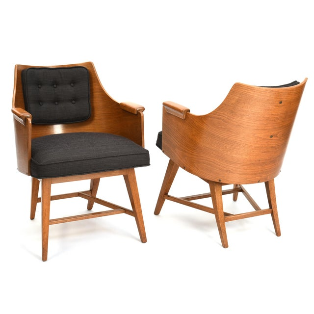 Dunbar Furniture Edward Wormley for Dunbar Chairs, Rare Set of Four, 1950's For Sale - Image 4 of 11