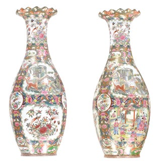 Pasargad N Y Chinese Polychrome Hand Painted Porcelain Vases - A Pair For Sale