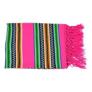 Pendleton Style Wool Pink and Green Serape Blanket For Sale