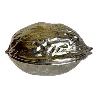 Vintage Walnut Shaped Silver Nut Cracker For Sale