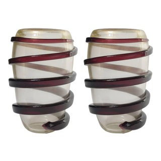 Vintage Swirl Vases by Cenedese - a Pair For Sale