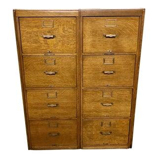 Antique Library Bureau Sole Makers Tiger Oak Double Filing Cabinet For Sale