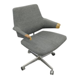 Danish Modern Rolling Office Armed Chair For Sale