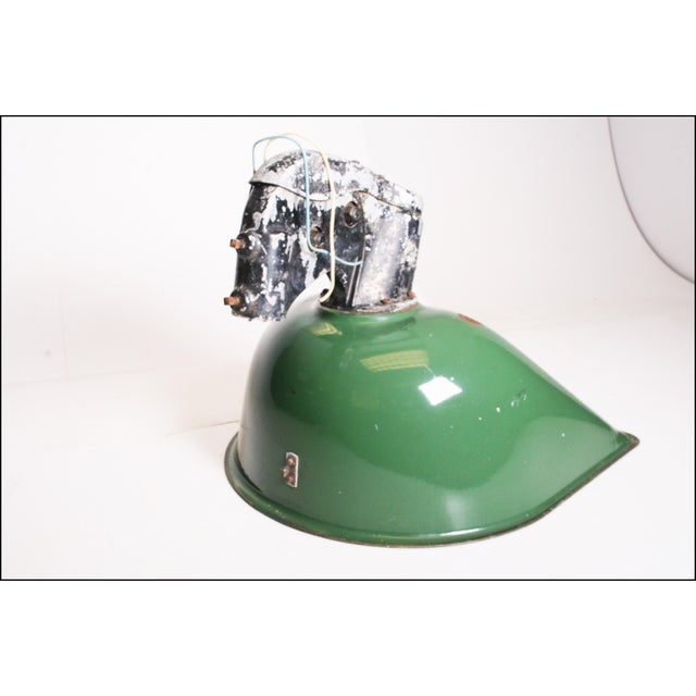 Vintage Industrial Large Green Enamel Light Fixture with Bracket - Image 7 of 11