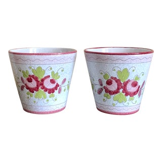 Mid Century Italian Pottery Planters- a Pair For Sale