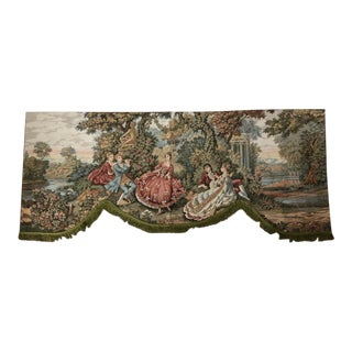 Vintage Court Life Courting Scene Tapestry Valances - a Pair For Sale
