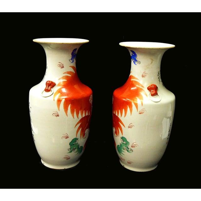 Chinese White Porcelain Orange Foo Dog Vases - 2 - Image 3 of 6