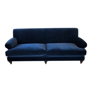 Blue Cotton Velvet Sofa For Sale