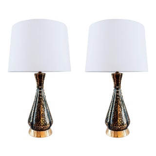 Mid Century Black and Gold Lamps - a Pair For Sale