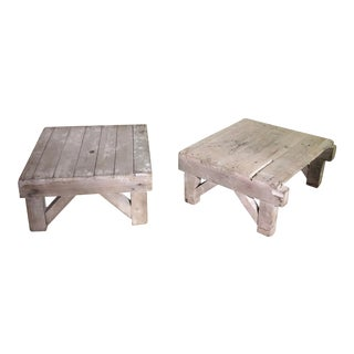 Pair of Rustic Wood Bench Side Tables For Sale