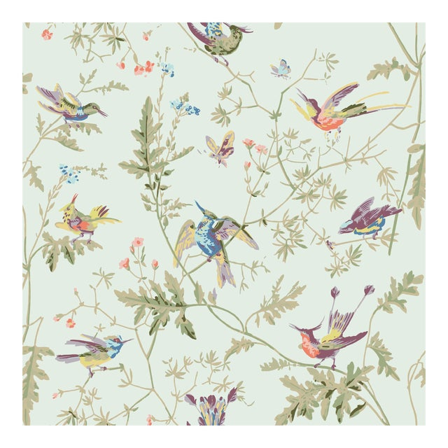 Duck Egg Blue Background Cotton Fabric- Price Per Yard For Sale