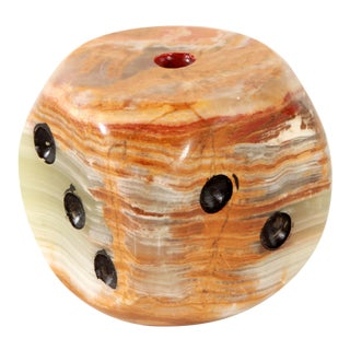 Solid Alabaster / Marble Oversized Dice Paperweight For Sale