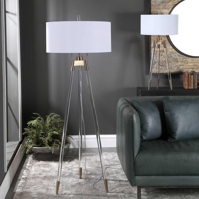 Metal Lucite and Brass Tripod-Style Floor Lamp with White Shade For Sale - Image 7 of 8