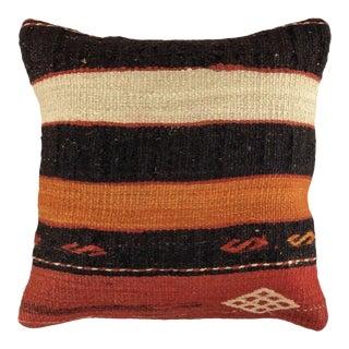 "Bold Stripe Vintage Kilim Pillow   16"" For Sale"