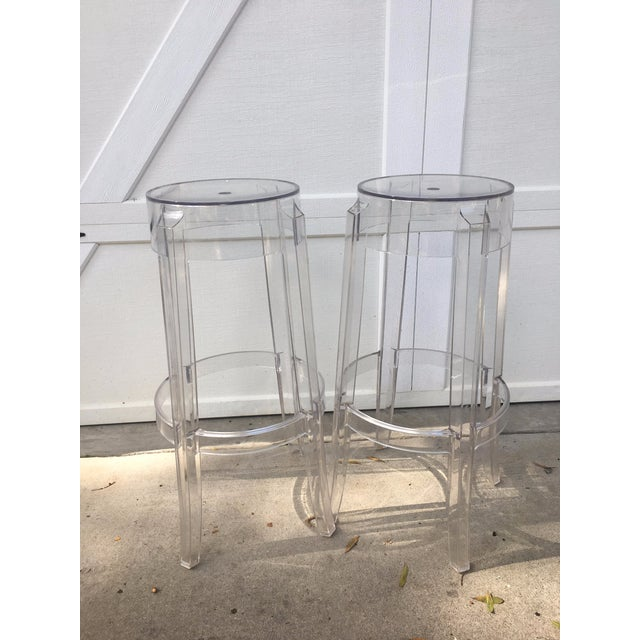 Kartell Charles Ghost Transparent Crystal Bar Stool - A Pair - Image 4 of 4