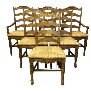 French Country Carved Ladder Back Rush Seat Hunt Dining Chairs - Set of 6