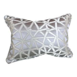 Donghia Coderie Silk Silver Gray Lumbar Pillow For Sale