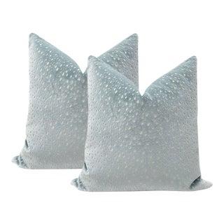 "22"" Cerulean Blue Antelope Cut Velvet Pillows - a Pair For Sale"