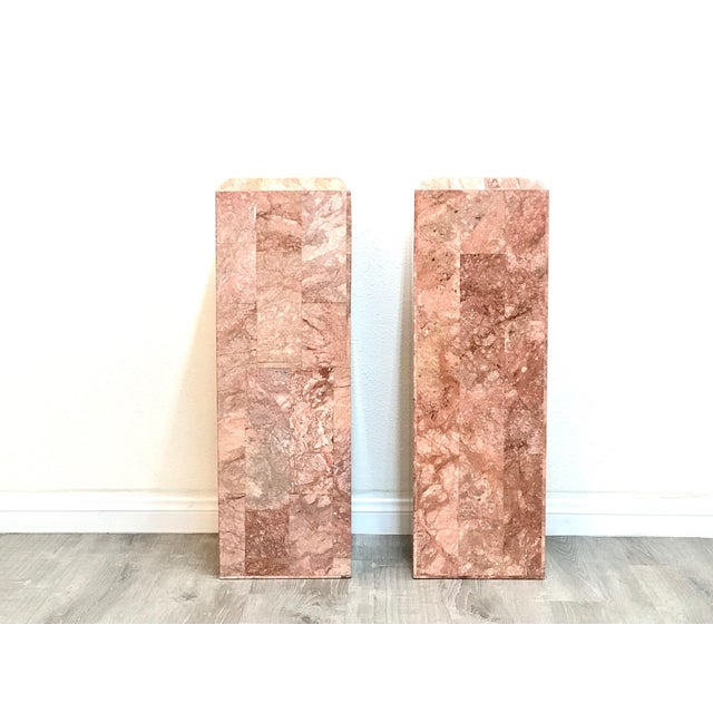 Amazing pair of tessellated marble pedestals in excellent vintage condition, Hollow but still heavy.